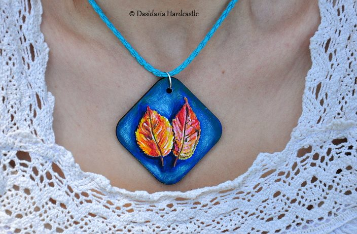 Hand painted necklace i by dasidaria-art