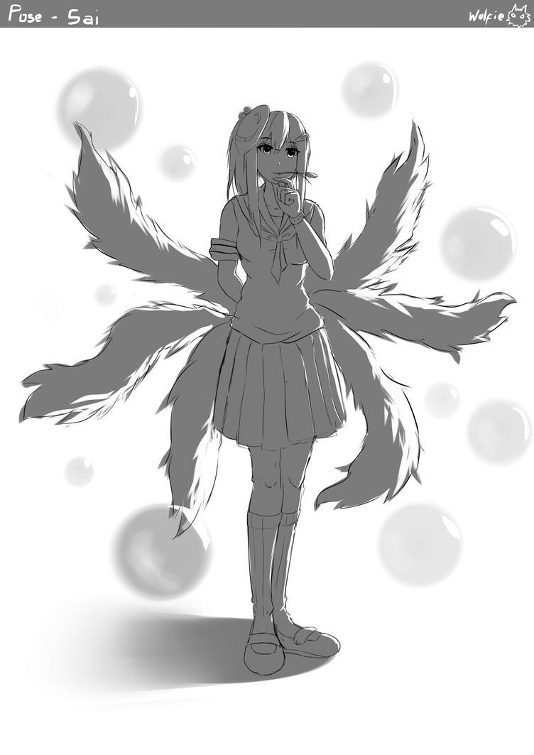 Foxgirl Pose Sketch by Wolfie71