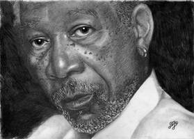 Morgan Freeman portrait HQ by th3blackhalo