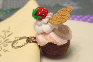 Felt strawberry cupcake.
