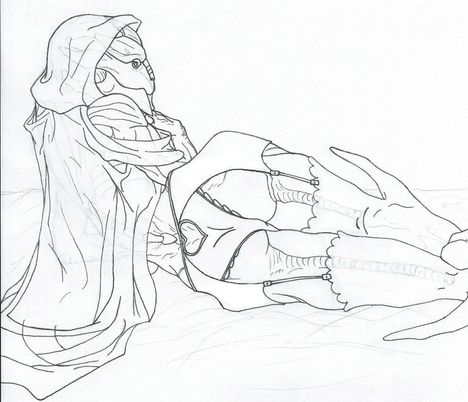 Turian seethrough lingerie lineart by Josumi-kun
