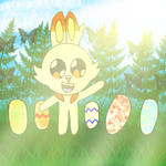 scorbunny with easter eggs