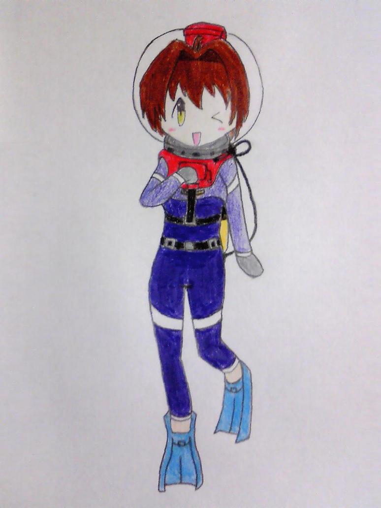 Sakura with scuba suit, after coloring by Nekomi4