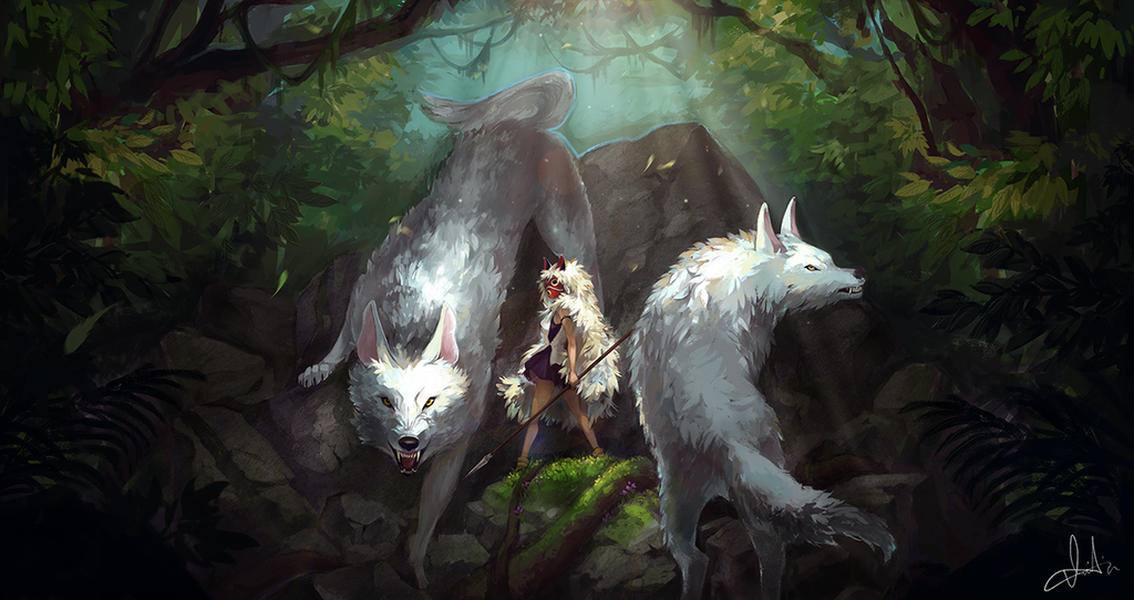 Image result for princess mononoke wolf art