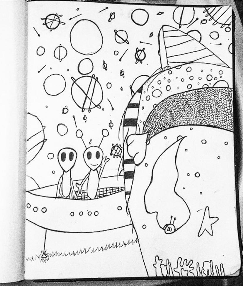 Mermaid hair and Alien friends by Rozurina-palasino