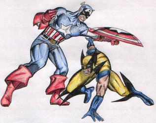 Wolverine X Captain America by fredlc