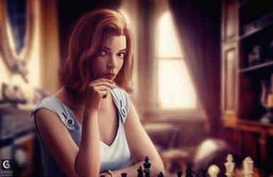 Queens-gambit - realistic painting