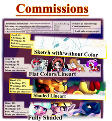 New commission prices sheet by Geekygami