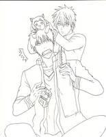 Kagami and Kuroko lineart by LileoDark