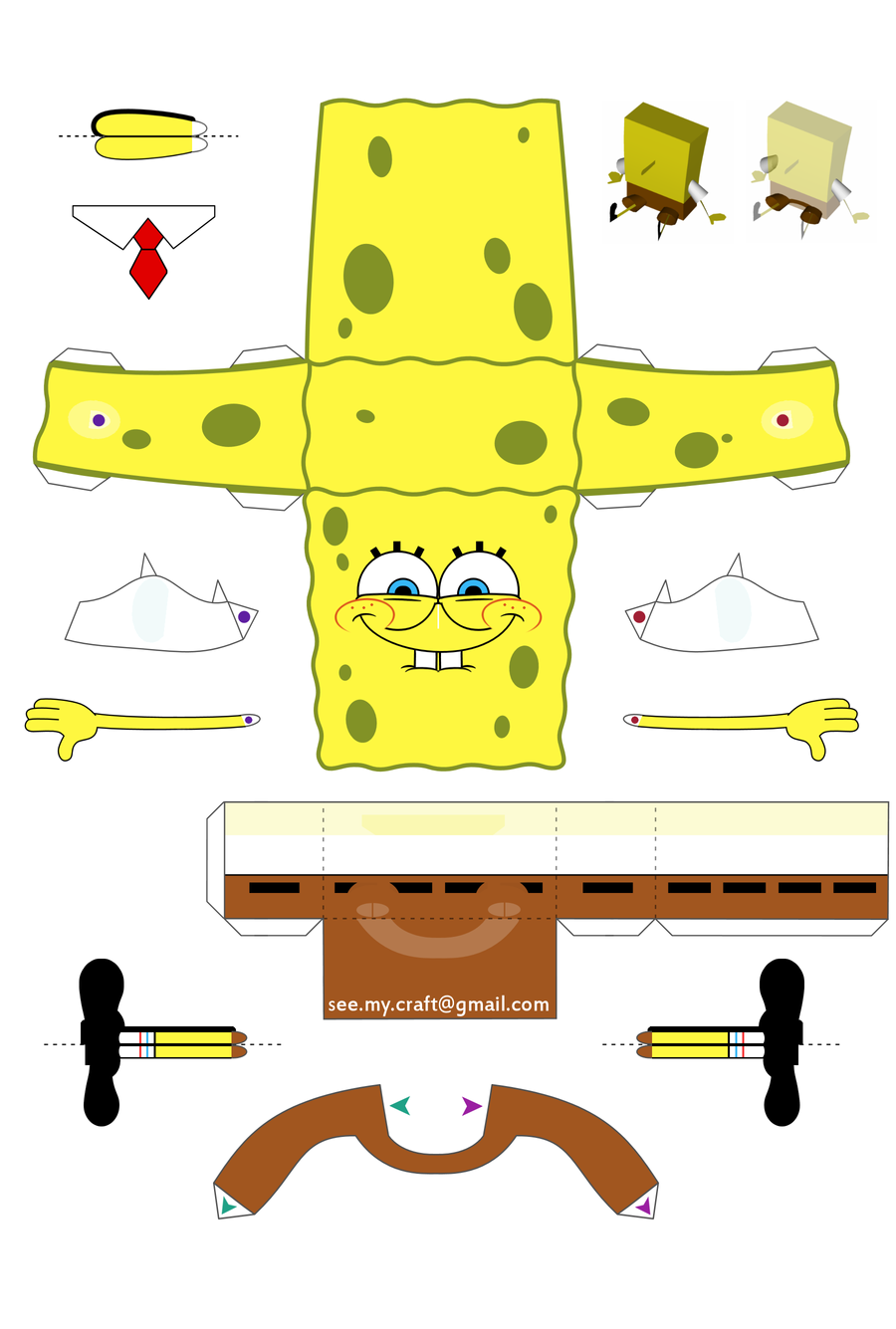 Spongebob Papercraft - Instructions by kamibox