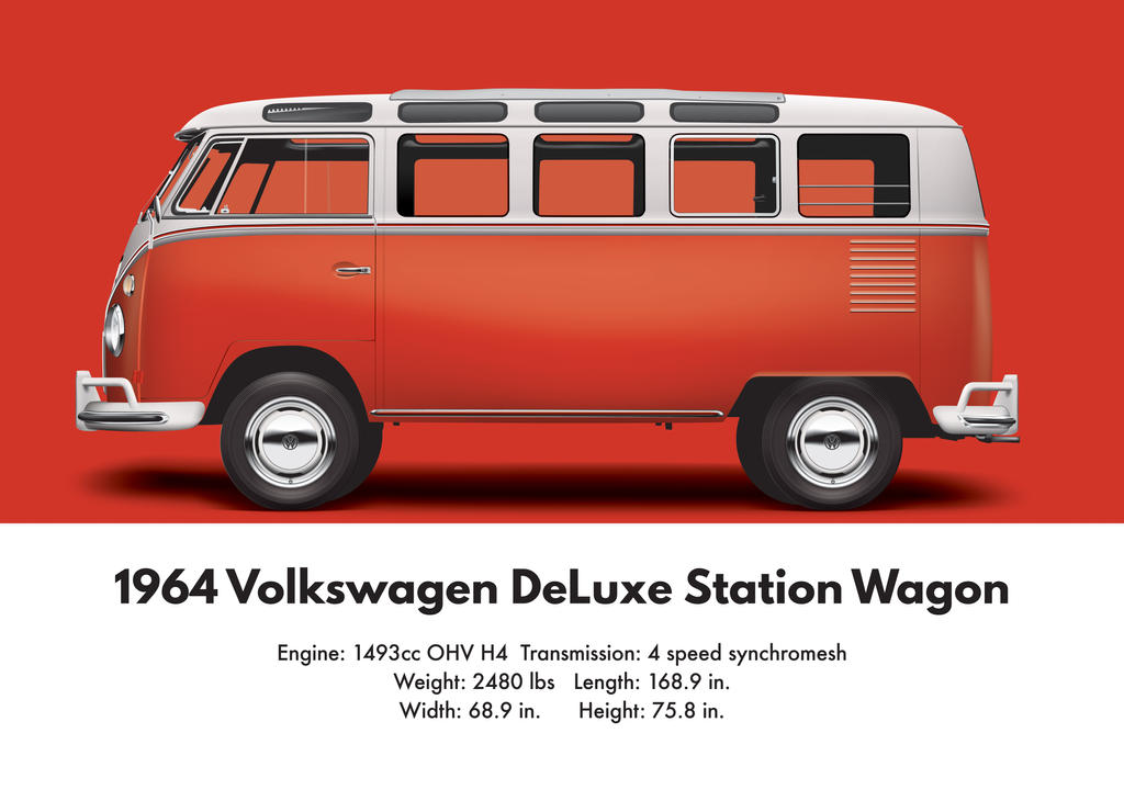 Well-liked 1964 VW DeLuxe Station Wagon - Sealing Wax Red by artbyedo on  IF04