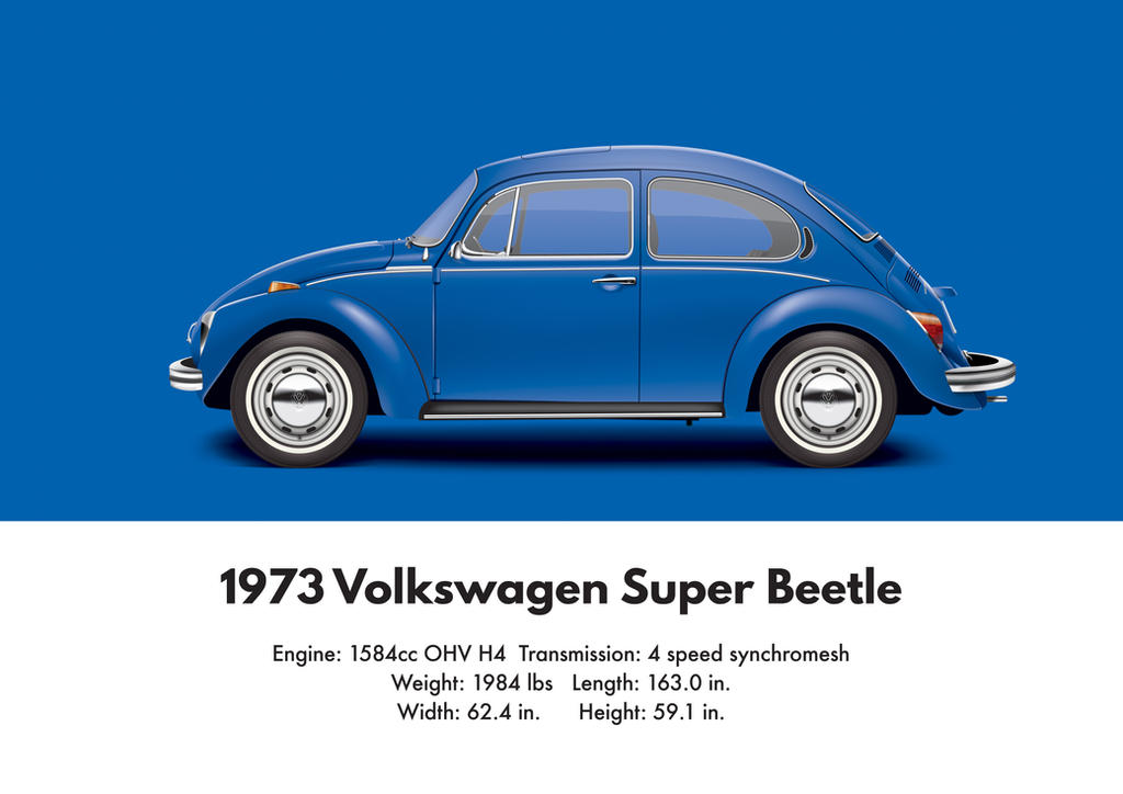 1973 Volkswagen Super Beetle Biscay Blue By Artbyedo On