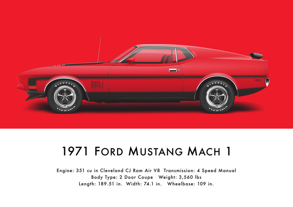 1971 ford mustang mach 1 bright red by artbyedo on deviantart. Cars Review. Best American Auto & Cars Review