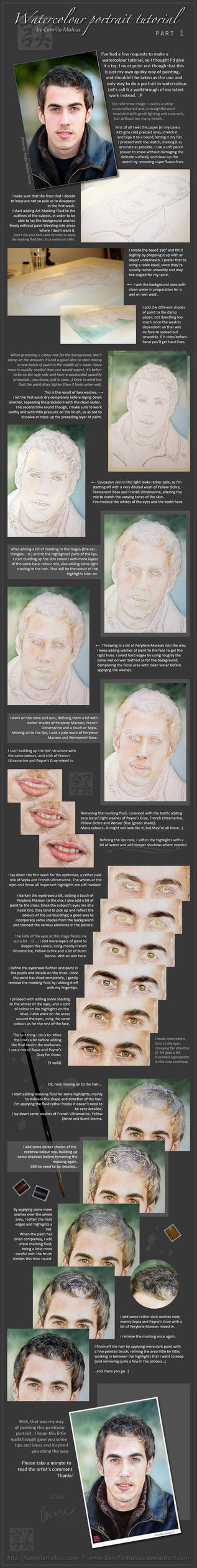 Watercolour Portrait Tutorial by CamillaMalcus