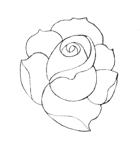 Neo Traditional Rose Outline Flower Tattoo