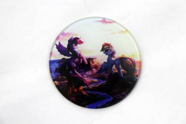 Twilight and Rainbowdash Glass Coaster by Art-N-Prints