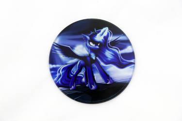 Angry Luna Glass Coaster by Art-N-Prints