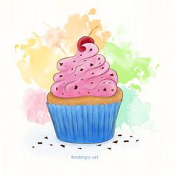 Muffin/cupcake with cream and cherry