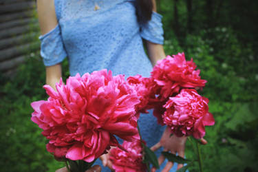 Girl and peonies by FOX-FIRE44