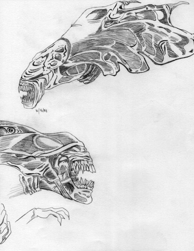 Alien Head Drawing Alien Queen Head Sketches by