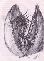 Steampunk Dragon inked by metalfoxxx