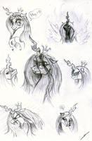 Queen Chrysalis Sketches by metalfoxxx