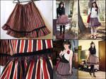 Red Black Cream Striped Skirt