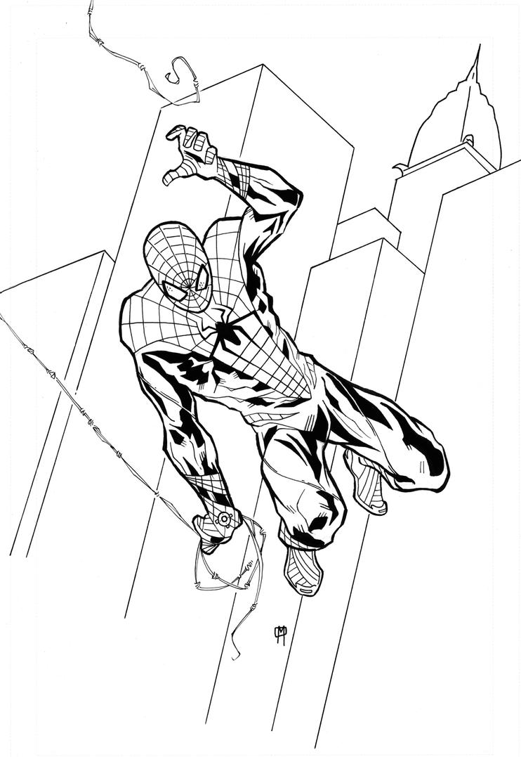 Spiderman black and white by mikeoppart on deviantart for Black spiderman coloring pages