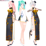 [MMD,Tda] China Dress Luka/Miku/Haku [DL!]