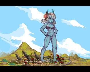 Demon Goddess (Pixels) by Yilx