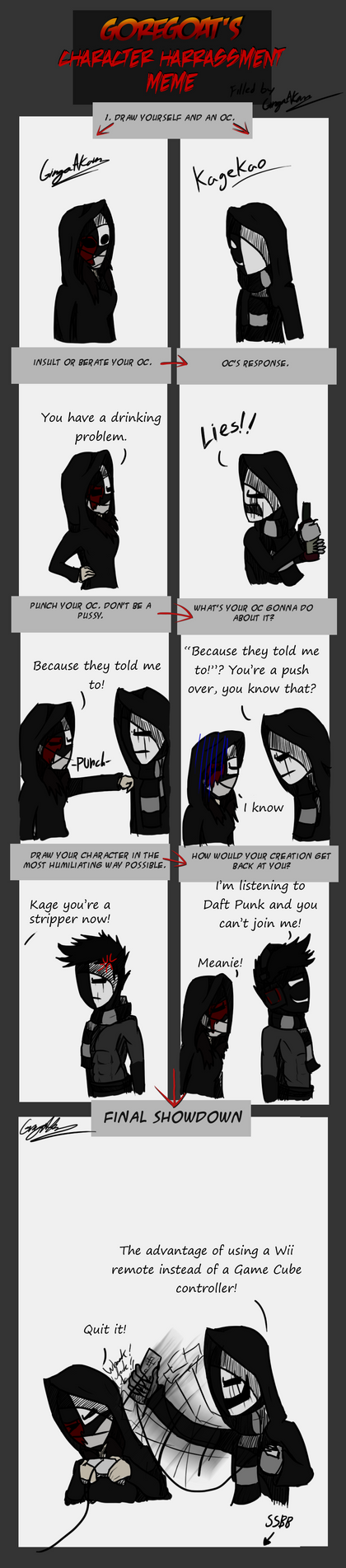 Character harassment meme - Kagekao by GingaAkam