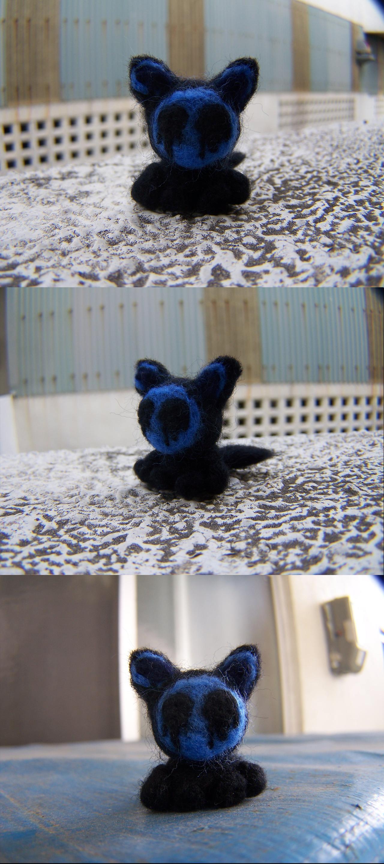 Wool Felting: Little Eyeless Jack Kitty by GingaAkam