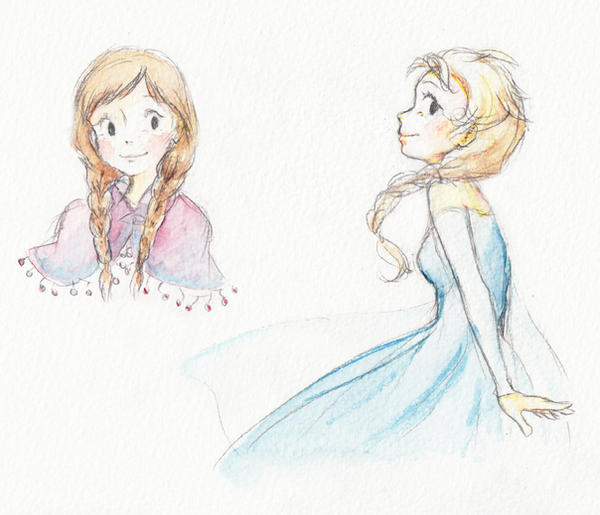 Anna and Elsa by Marmaladecookie