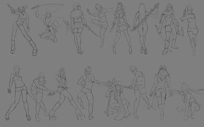 Sketch pose_003 (Girl with sword) by Lakmys