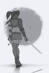 Sci fi girl with a katana by Lakmys
