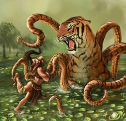 Octiger-Hybrid Creature by zimfin