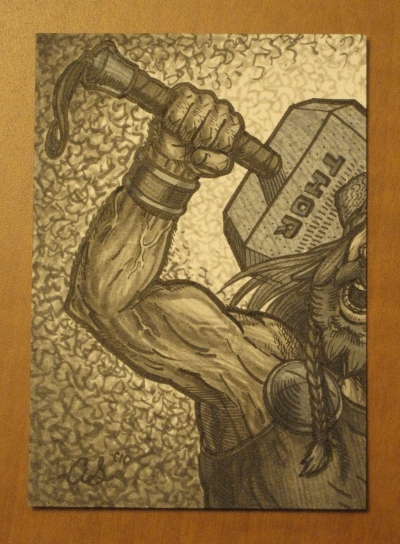 Thor sketch card by silentsketcher