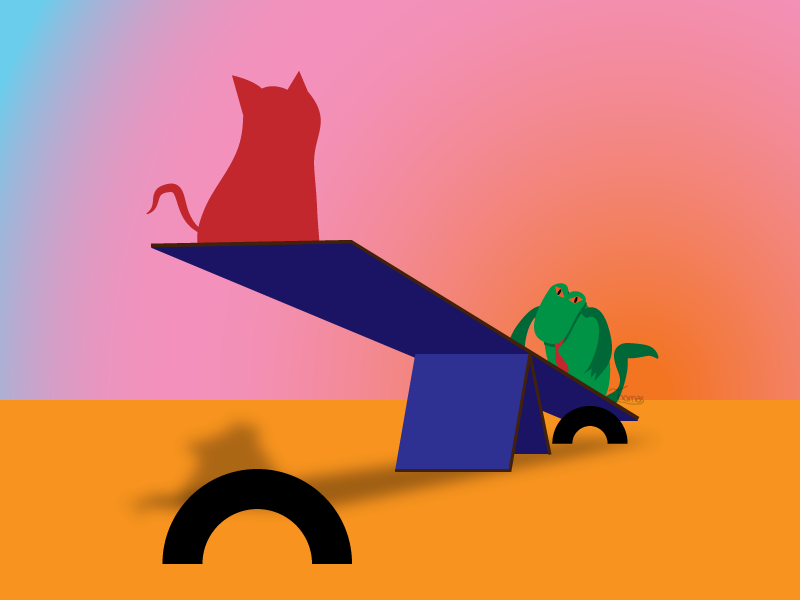 A Cat on a Seesaw with a Lizard