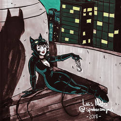 Day 6 - Inktober 2018 - Catwoman by Spidersaiyan