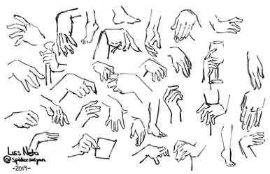 Inktober 2019 - Day 16: Hand and Feet Studies
