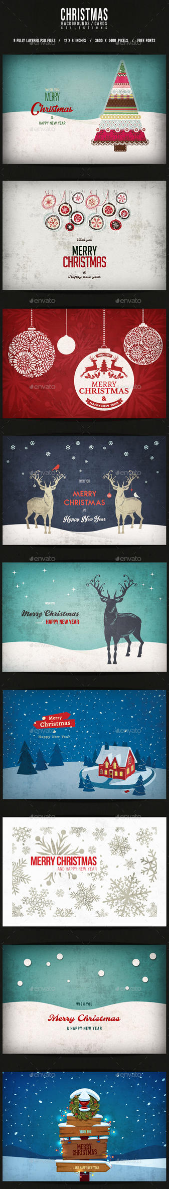 Christmas Backgrounds/Cards Collection by elisamaggit