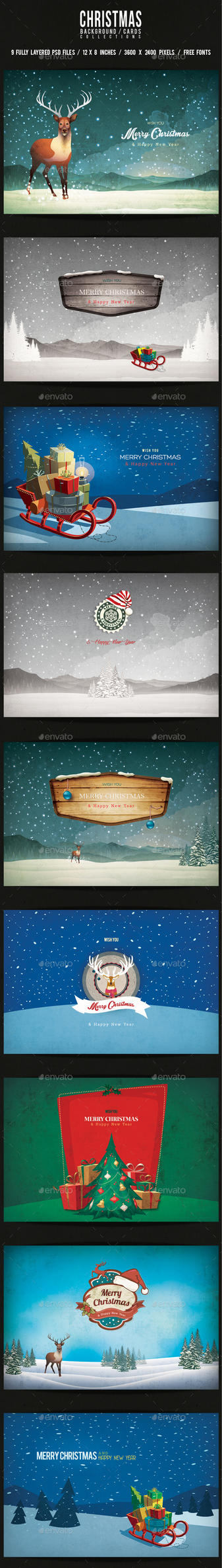 Christmas Backgrounds/Cards Collection Vol.1 by elisamaggit