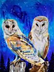 Commission: Anniversary Owls