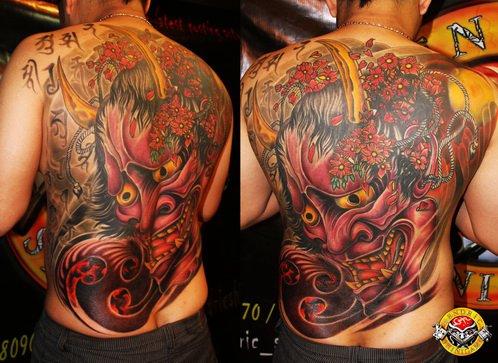 Japanese demon mask fullback tattoo by bengkel168