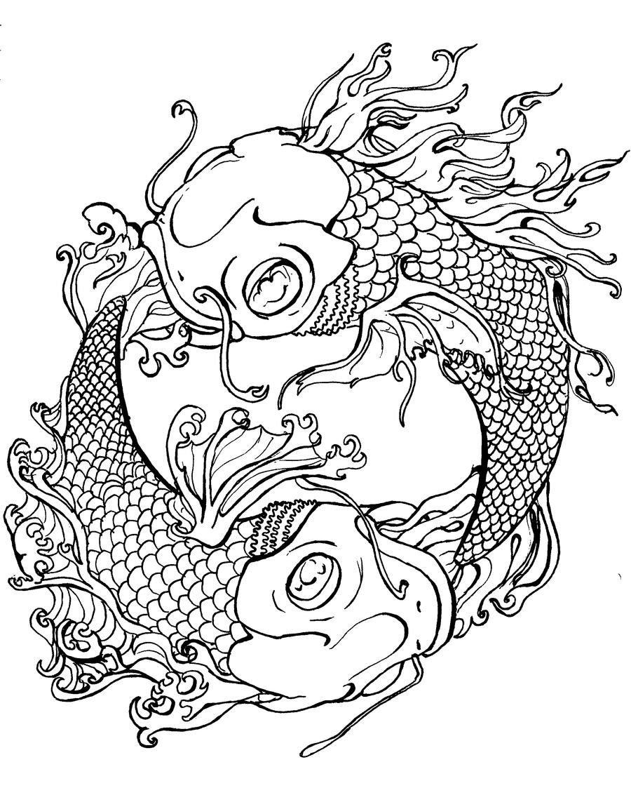 Fire and water koi tattoo by shepimp on deviantart for Japanese art coloring pages