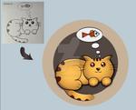 Cat's dream : Sketch to Vector.