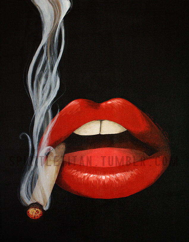 It's just a graphic of Dramatic Lips Smoking Drawing