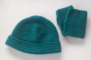 folded cuff beanie and fingerless gloves