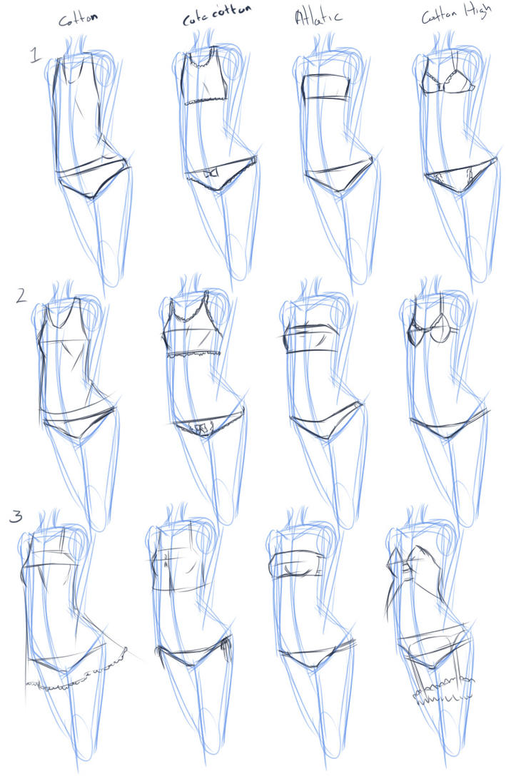 Drawing with SAI 8 types of Pantsu by drantyno