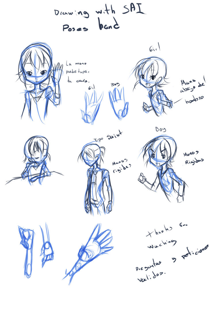 Paint Tool SAI 16: Poses Hands by drantyno